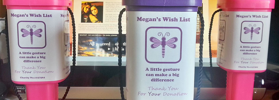 Megan's Wish List charity boxes for donations